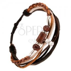 Multináramek - hnědý kožený pletenec, šňůrky, korálky a válečky