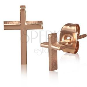 Puzetové náušnice zlaté barvy z chirurgické oceli, kříž