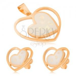 Zlatá sada z oceli - náušnice a přívěsek, bílá perleťová srdce