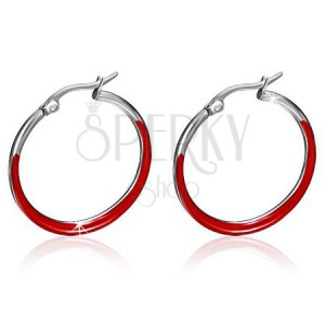 Náušnice z chirurgické oceli - tenké kruhy, lesklá červená glazura