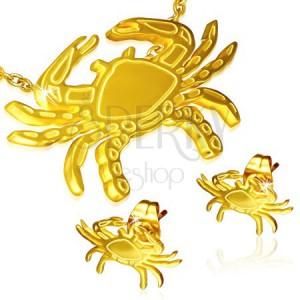 Zlatá sada z oceli - puzetové náušnice a přívěsek, krab