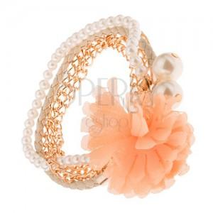 Multináramek - zlaté řetízky, béžový pletenec, korálky, oranžová květina