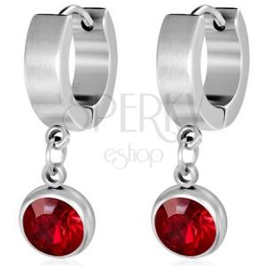 Kruhové náušnice z oceli - broušený červený kamínek v kruhové objímce