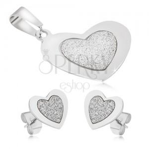 Ocelová sada - přívěsek a náušnice, souměrná srdce, pískovaný střed