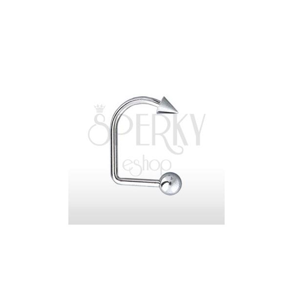 Piercing do brady a rtu zahnutý s kuličkou a hrotem 4 mm / 5 mm