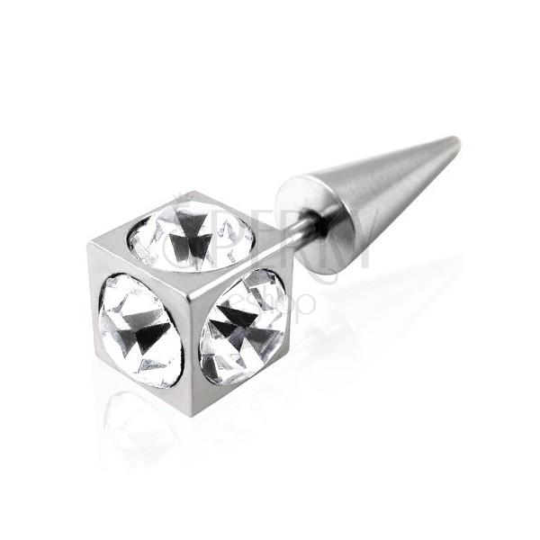 Falešný piercing kostka se zirkony - čirý