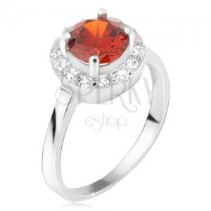 Prsten ze stříbra 925, okrouhlý červený kamínek, čirý zirkonový kruh