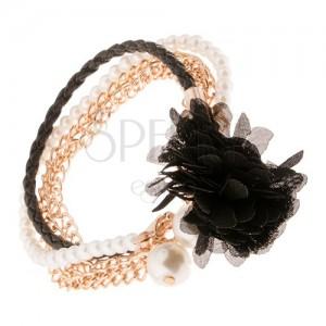 Multináramek - černý pletenec, řetízky zlaté barvy, korálky, černá květina