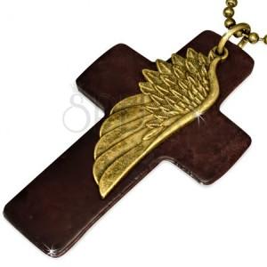 Náhrdelník - hnědý kožený kříž, křídlo, armádní řetízek