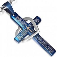 Ocelový přívěsek - modrý kříž s modlitbou, stříbrný obrys srdce