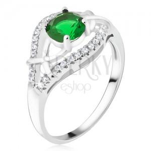 Stříbrný prsten 925 - zelený okrouhlý kamínek, zirkonová ramena