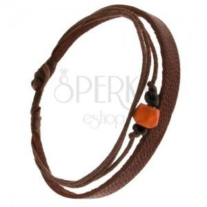 Náramek - kaštanově hnědý pás kůže, šňůrky, korálky, oranžová ozdoba