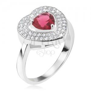 Prsten ze stříbra 925 - červený srdíčkový kamínek, zirkonová kontura