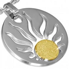 Ocelový přívěsek - kruh s vyřezanými plameny, pískované slunce