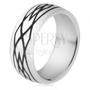 Ocelový prsten, černé zářezy, vzor z elips a kosočtverců