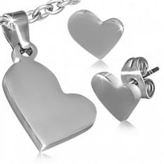 Ocelová sada - přívěsek a puzetové náušnice, asymetrická srdce