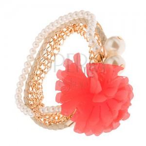 Multináramek - zlaté řetízky, béžový pletenec, korálky, lososová květina