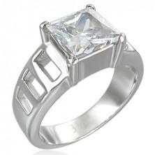 Zásnubní prsten s velikým čtvercovým zirkonem a šesti  otvory