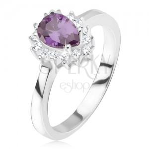 Stříbrný prsten 925 - fialový slzičkovitý kamínek, zirkonová obruba