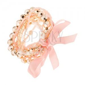 Multináramek - růžové a bílé korálkové šňůrky, perličky, mašle