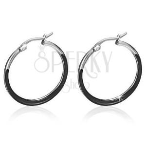 Ocelové náušnice, černé glazované kruhy