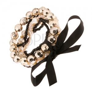 Multináramek - černé a bílé korálkové šňůrky, perličky, mašle