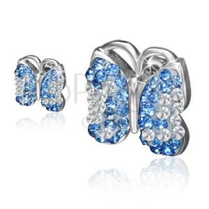 Náušnice z chirurgické oceli, motýl, světle modré a čiré kamínky