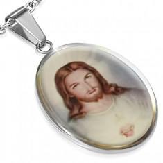 Oválný ocelový medailon s obrázkem Ježíše
