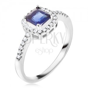 Prsten ze stříbra 925, modrý čtvercový kamínek, zirkonový lem