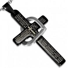 Přívěsek z oceli, malý černý kříž s modlitbou, obrys srdce