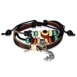 Multináramek - kožený pás, šňůrky, dřevěné a kovové korálky, měsíček