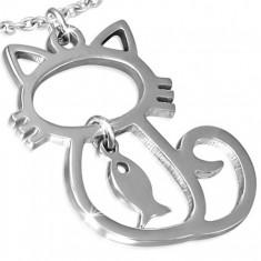 Ocelový přívěsek - obrys sedící kočky, ryba
