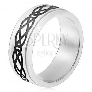 Ocelový prsten, vyvýšený pás, motiv slz a kosočtverců, tlusté linie