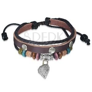 Multináramek - hnědý pás kůže s nýty, dřevěné korálky, šňůrka, list