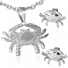 Sada z oceli - puzetové náušnice a přívěsek, gravírovaný krab