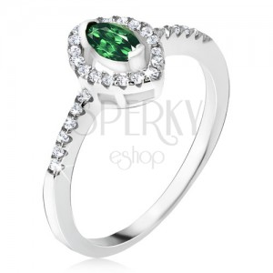 Stříbrný prsten 925 - elipsovitý zelený kamínek, zirkonová kontura