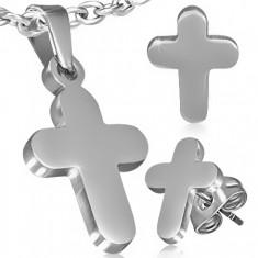 Sada z oceli - přívěsek a náušnice, hladký latinský kříž