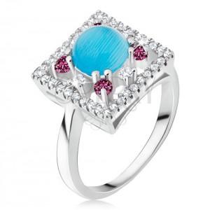 Prsten ze stříbra 925 - zirkonový čtverec, tyrkysový kamínek