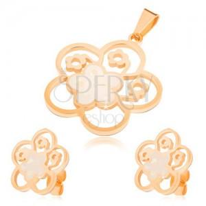 Zlatý set z oceli, náušnice a přívěsek, vyřezávaný květ s perletí
