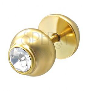 Falešný piercing zlaté barvy s kamenem