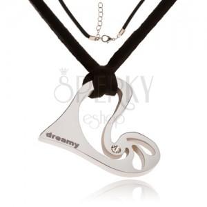 Náhrdelník - černá kožená šňůrka, asymetrické srdce s kamínkem