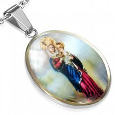 Oválny oceľový medailón, Panna Mária s malým Ježiškom