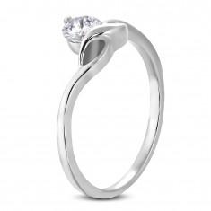 138463277 Zásnubní prsten s kulatým čirým zirkonem a jemnými vlnkami D16.16