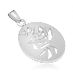 Ocelový přívěsek stříbrné barvy, ovál s čínským symbolem