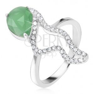 Prsten ze stříbra 925 - zelený slzičkový kámen, zirkonová zvlněná linie