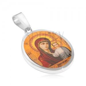 Přívěsek z chirurgické oceli, Panna Marie a Ježíš, žluté pozadí