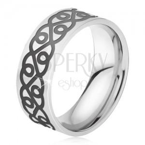 Ocelový prsten - stříbrná obroučka, tlustý černý ornament, srdce