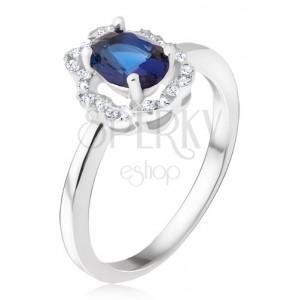 Prsten ze stříbra 925 - tmavomodrý oválný kamínek, zirkonová kontura