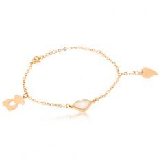 Zlatý náramek z oceli - řetízek, medvídek, rty, srdce S46.01