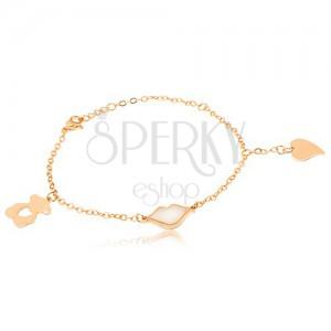 Zlatý náramek z oceli - řetízek, medvídek, rty, srdce